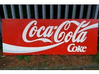 Large Metal Coca Cola Shop Front Advertising Sign