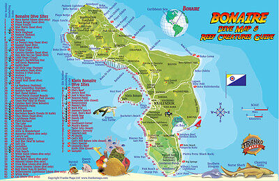 Bonaire Dive Map & Reef Creatures Guide Waterproof Fish Card by Franko Maps