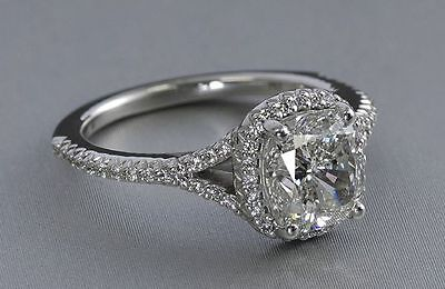 2.1 Ct Cushion Cut Solitaire Vintage Diamond Engagement Ring 14K White Gold
