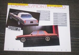 1986 chevrolet caprice / monte carlo new car sales brochure Kitchener / Waterloo Kitchener Area image 1
