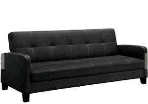 Black leather sofa sleeper futon style