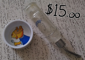 Small Animal Glass Water Bottle and Ceramic Bowl