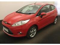 2012 RED FORD FIESTA 1.2 ZETEC 82 PETROL 3DR HATCH CAR FINANCE FR £20 PW
