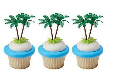 Plastic Palm Trees Tropical Tiki cupcake picks (24) favor cake topper 2 dozen - Tropical Cupcakes