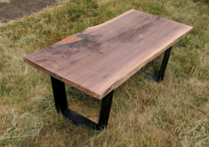Live Edge Walnut Coffee Table - Coral Epoxy Fills