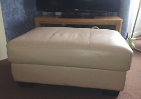 Cream leather footstool