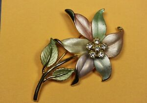 Beautiful Enamel & Rhinestone Pastel Flower Brooch Pin Unsigned