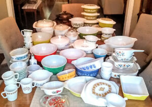 PYREX LOT with Assorted Vintage Glassware