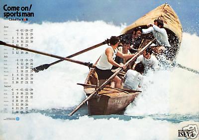 Original Vintage Poster Japanese Sports Boat Man Kitsch Japan Perfume Bathroom