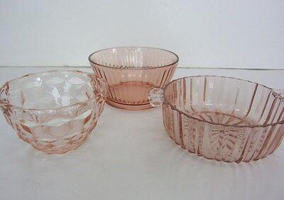 VTG 30s Pink Anchor Hocking & Jeannette Depression Glass 3 Bowls, Candy Dishes