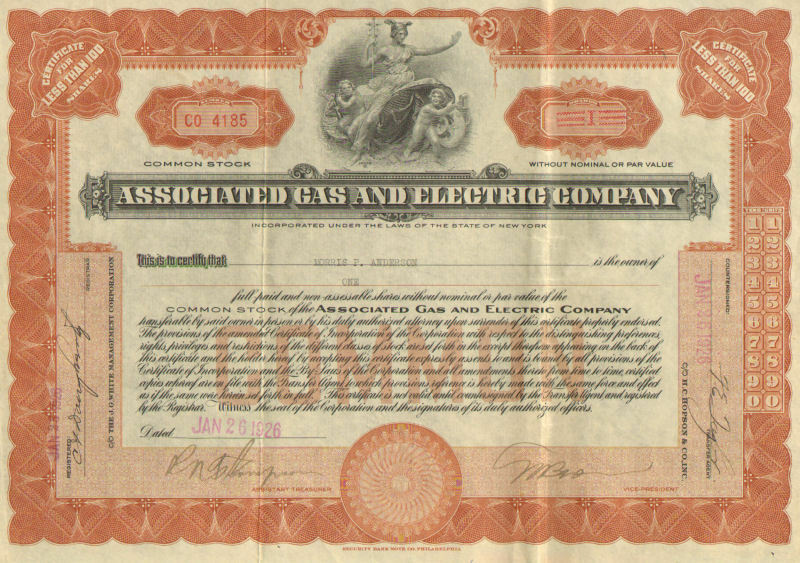 Associated Gas and Electric > 1926 New York power utility stock certificate
