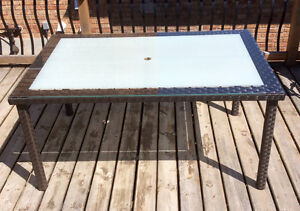 Large Resin Wicker Patio Table With Anti Glare Top - St. Thomas