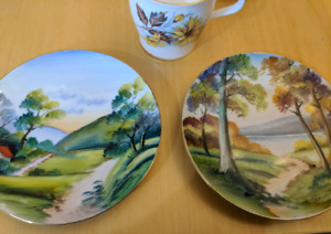 2 hand painted decorative plates. Vintage