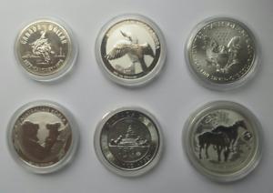 6 x Pièces de monnaie en ARGENT