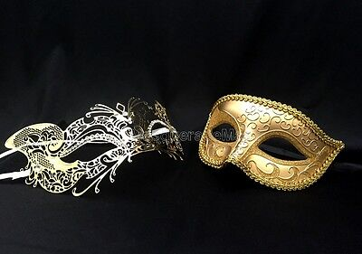 Anime Couples Black And White (Couple Masquerade Mask Black White Gold Kitty Cat Costume Animal Prom)