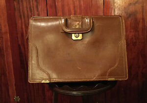 Classic vintage 1940s McBrine brown leather briefcase