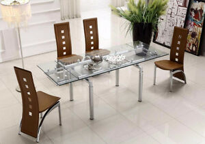 Modern Glass Dining Table Set with Chairs