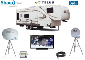 BELL,TELUS, SHAW DIRECT dish OR tripod 4 CAMPING, RV, 5th wheelE