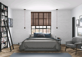 Two real wooden blinds 120cm width by 16cm drop