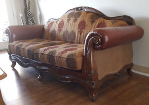 Real Leather /Fabric/ Hand-carved Wood Sofa and Loveseat