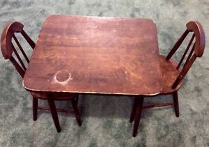Antique child's table and 2 chairs