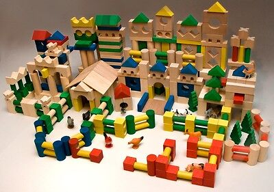 500 Holzbausteine Bauklötze Holzklötze Holzspielzeug aus Buche Holz Bausteine