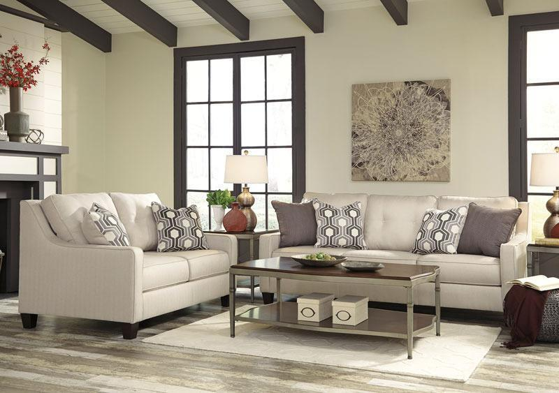 Parker - New Modern White Microfiber Fabric Sofa Couch Set Living Room Furniture