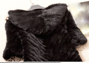 NEW Genuine Real Knitted Mink Fur Coat Jacket with Hood/BLACK
