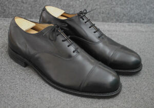 Vintage Black Leather H.H. Brown Oxfords, Size 11.5-12