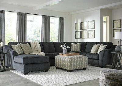 NEW Large Sectional Living Room Furniture - 4pcs Gray Fabric Sofa Chaise Set G2G