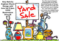 Holy Nativity Anglican Church Garage Sale June 3rd, 9-3pm
