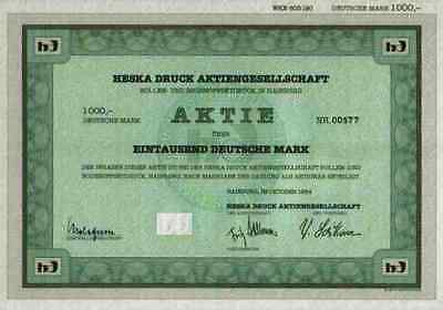 Heska Druck AG Hainburg 1984 Gründeraktie Offenbach Hessen 1000 DM Gewinnanteile