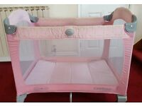 Pink Graco Travel cot Baby girls with carrier