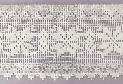 (5 YARDS 6 3/4 INCH WIDE WHITE LACE TRIM FOR TABLECLOTHES CURTAINS AND MORE)