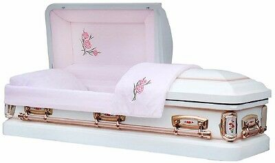 Overnight Caskets - PrimRose White Shade with Silver Rose Finish Coffin