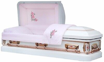 Funeral Casket PrimRose White Shade with Silver Rose Finish Coffin