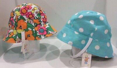 Infant Bucket Sun Hat Lot of 2 Hats Floral / Polka Dot REVERSIBLE Sz 12-24Mo -