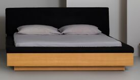 Habitat Double Storage Bed with Mattress. Solid and veneree oak, removable upholstered cover