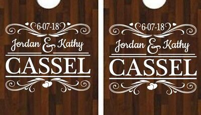 Corn Hole Game Diy (Cornhole Decals Name Date Outdoor Party DIY Custom Wedding Themed Backyard)