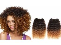 Brazilian virgin hair Afro Kinky Curly Ombre Human Hair Weave Weft 12 inches 3 Bundles 300g