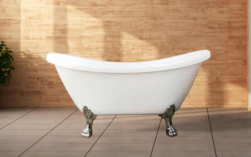 "Freestanding Clawfoot Bathtub   White 59""   Acrylic Soaking Tub   Mariah"