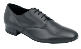 Men's Wide Fitting lBlack Leather Dance Shoes