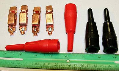 4 new Mueller 27C copper 40 amp alligator clips and insulators for 1 price