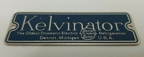 Vintage Kelvinator Appliance Badge Plate Emblem