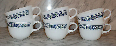 VINTAGE LOT OF (6) PYREX CORNING BLUE COUNTRY FLOWERS WITH WHITE MUGS/CUPS