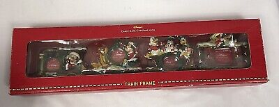 Disney Candy Cane Christmas 2000 Train Picture Frame Set Mickey Minnie Goofy NW