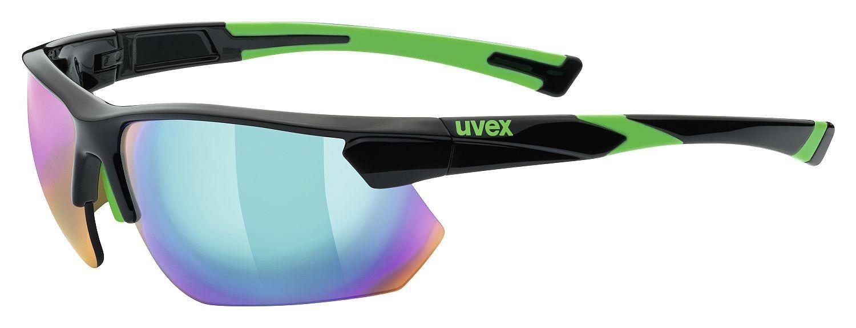 Uvex Sportstyle 221 Sportbrille Sonnenbrille Laufen Jogging - black green
