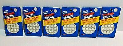 Lot Of 6 Packs White Vintage 1983 Amtac Thumb Tacks 240 Tacks Total