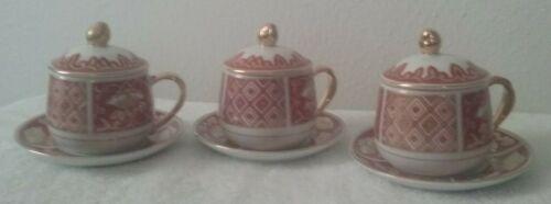 Set of 3 - Fitz & Floyd Demitasse Espresso Pot de Creme - Cup, Lid and Saucer