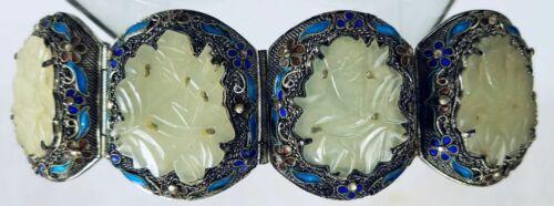 Vintage Antique Sterling Silver CHINESE CARVED JADE ENAMEL Filigree Bracelet